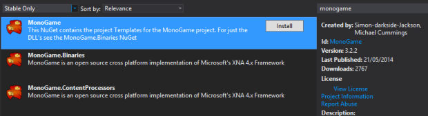 Windows-MonoGame-Nuget